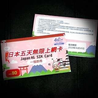 日本Softbank 4G 5日無限上網卡 數據卡 電話卡