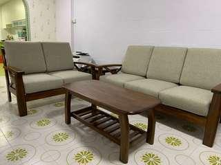 Fabric Cushion Sofa/ Coffe Table/ Side Table Complete Set