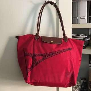 BN Limited edition Longchamp Eiffel Tower large Long handle red Tote Bag