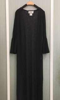 🚚 喇叭袖雪紡罩衫(黑色)
