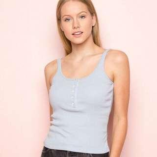 Brandy Melville Blue Simone Cami Ribbed Top