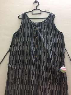 MATERNITY DRESS - GREY BLACK