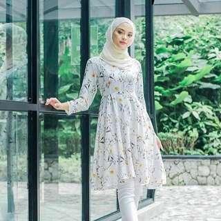 Maria Floral Midi Dress/ Long Tunic with Pants Set
