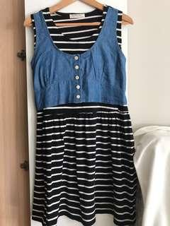 Black and white stripes maternity and breastfeeding dress