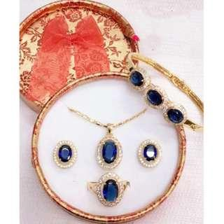 SELLING LOW! Sapphire Royal Blue Jewelry Set Bangkok Class A 3 In 1 Set For Adult
