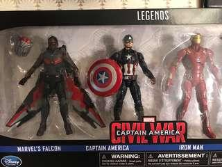 Marvel legends iron man Captain America falcon avengers civil war infinity end game