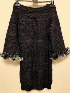 韓版 毛毛袖毛衣洋裝