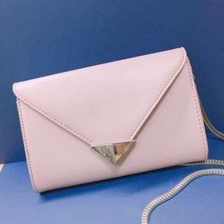 粉色高雅皮夾/包(附鏈條)