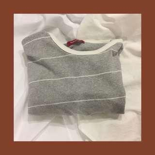 Thrifted Grey Striped Tee