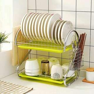 New & Ready stock🔥Stainless steel multipurpose dish rack dish drainer 2 tier