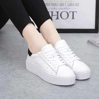 White Platform Sneakers with Black Accent size 36 38 39