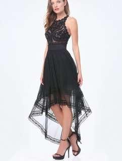 Bebe Black Illusion Lace Dress
