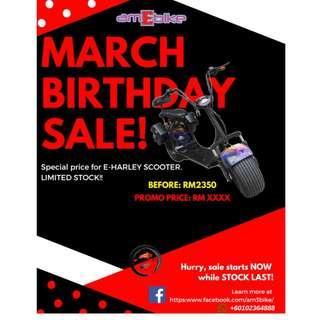 E-Harley Scooter Birthday Sale