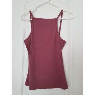 Dusty Pink High-neck Tank Top