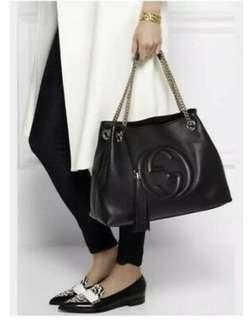 Gucci authentic black leather tote