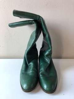 Pollini green leather boots.  Gorgeous!