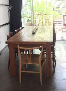 Solid teal wood dining table