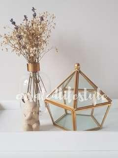 🚚 Gold geometric terrarium glass / home decor / ring box