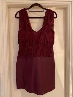 Zara burgendy colour lace and faux leather dress 棗紅色喱士仿皮連身裙 cocktail dress