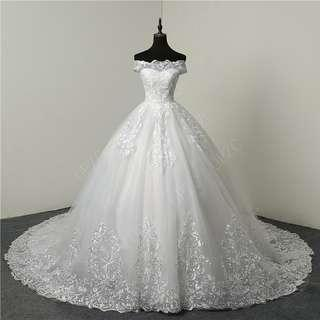 Vintage Embroidered Lace Wedding Dress Long Train