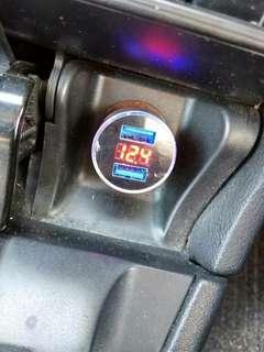 usb charger +volt meter