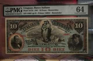 1887年烏拉圭10披索 UNC