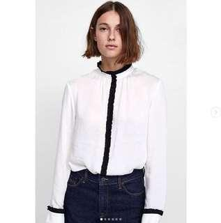 ZARA blouse with contrast ruffles trims