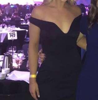 Dark navy blue off shoulder dress