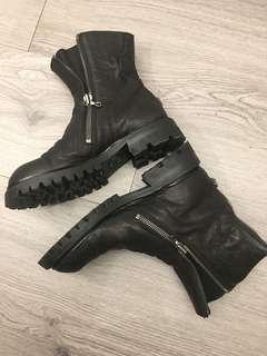 Julius 雙拉鍊馬皮工程師靴size-1