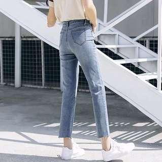 直筒高腰牛仔褲寬鬆八分褲