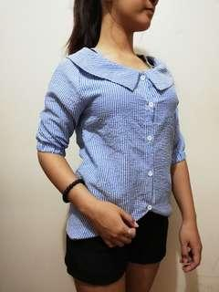 Sripe blouse cut out