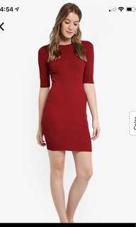 Red knit bodycon rib dress