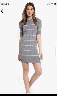 Stripe knit bodycon rib dress