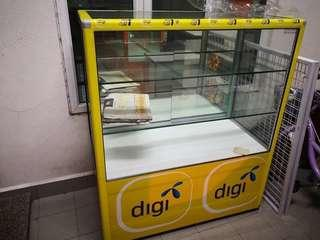 Umobile & Digi Sticker REMOVABLE Glass Display Cabinet with 3 Levels Glass Shelves