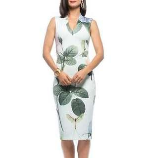 TED BAKER floral pencil dress size 0 XS but fits 00 XXS