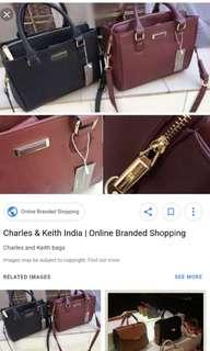Charles and keith structured tote sling bag