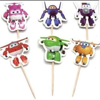 🚚 Super wings Cupcake Cake Jelly Toppers Pick Party Birthday Baby Decoration