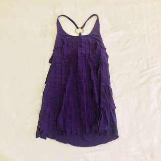 Purple Sleeveless Top with Fringe