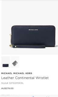 NAVY MK LEATHER ZIP WALLET