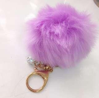 全新 毛毛球吊飾 紫色