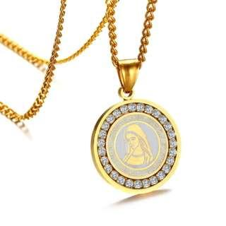 🚚 Gold Plate Virgin Mary Holy Pendant Necklace