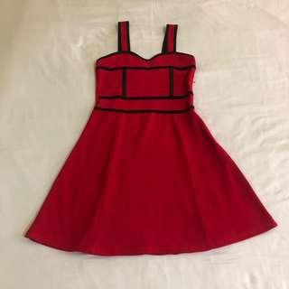 Red Dress with Black Detail