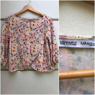 Zara floral overlap top