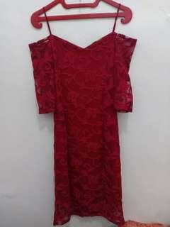 Sabrina lace dress red