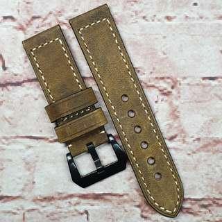 Sale : Premium Genuine Assolutamente Leather 24mm Watch Strap Dark Brown Colour (1038DBA24)