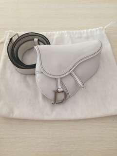 Dior Vintage Mini Saddle Bag Belt In White Leather (RARE)