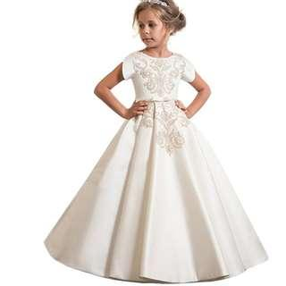 Girls Lace Dress Long Dress Flower Girl Dresses Baptism Dress Special Occasion Dress (New) Kid Size 4-12