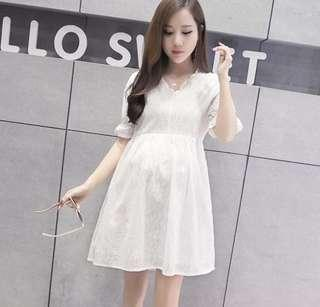 Maternity /pregnant woman Korean Style Lace Dress (White) - size L