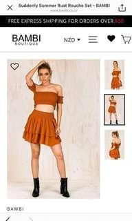 BAMBI BOUTIQUE - SUDDENLY SUMMER RUST ROUCHE SET (FREE SHIPPING)