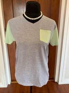 Women: Mint green and grey top Small